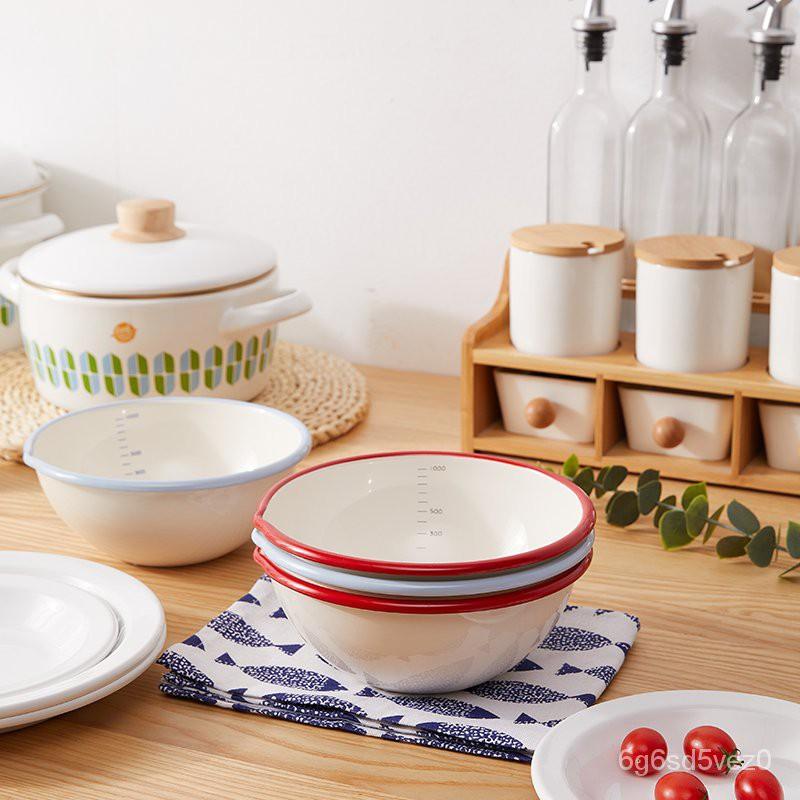 【琺瑯搪瓷碗盤組合】FUJIHORO/日本富士琺瑯碗水果沙拉碗搪瓷碗泡麵碗碗盤組合1000ml