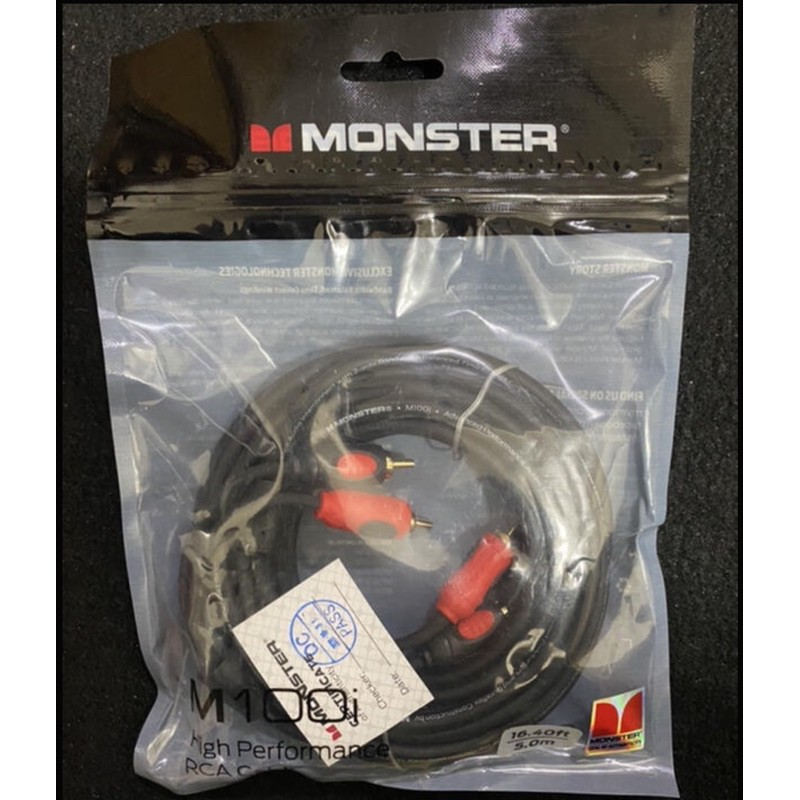 現貨全新品美國Monster Cable M100I怪獸5米無氧銅發燒線雙RCA音頻線信號線訊號線