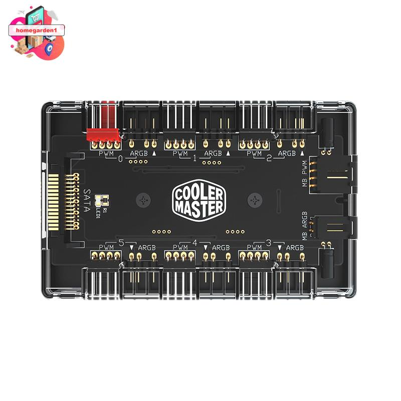 COOLER MASTER 1至6多路分配器5V / 3PIN RGB機箱風扇集線器適配器ARGB和PWM風扇集線器