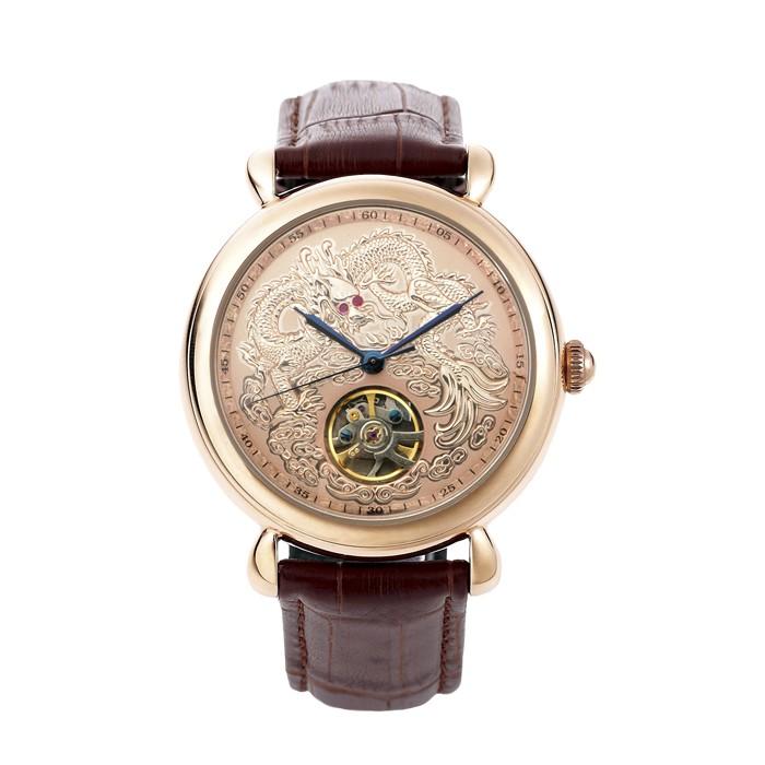 1CD96 ⌚ 機械錶不銹鋼真皮錶帶機械表龍行天下經典紅寶手錶銀曼莉萊克 Manlike