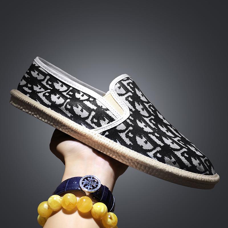 夏季托馬斯漁夫鞋帆布鞋懶人鞋一腳蹬社會鞋男鞋