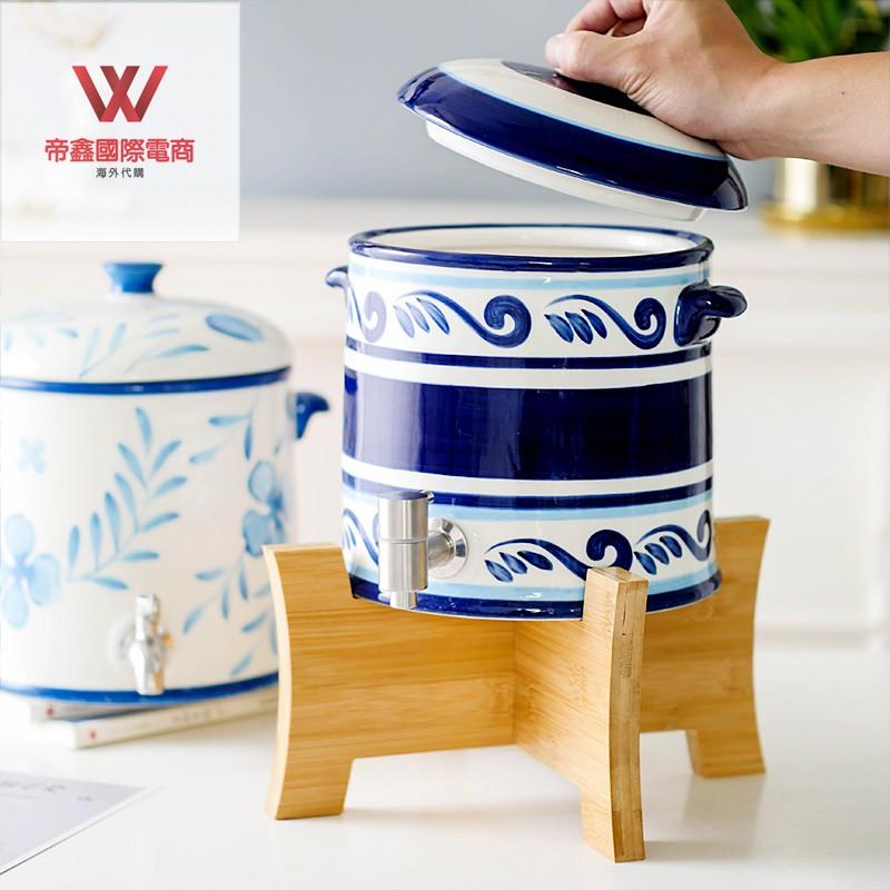 耐高溫涼白開冷水壺套裝家用陶瓷涼水壺帶水龍頭過濾大容量儲水罐