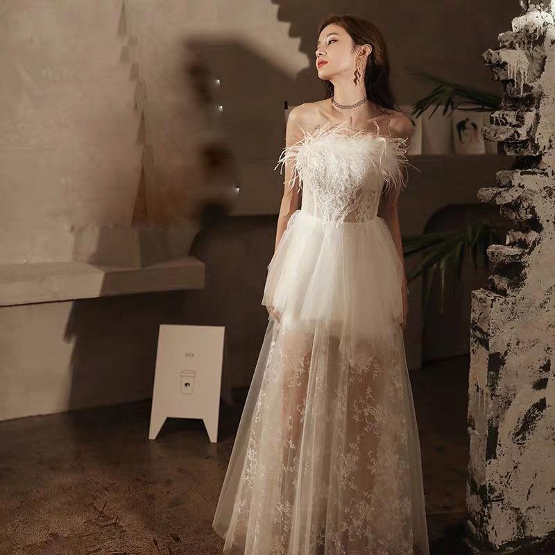 宴會晚禮服裙優雅氣質2021新款高貴超仙生日派對主持人長款伴娘服新品