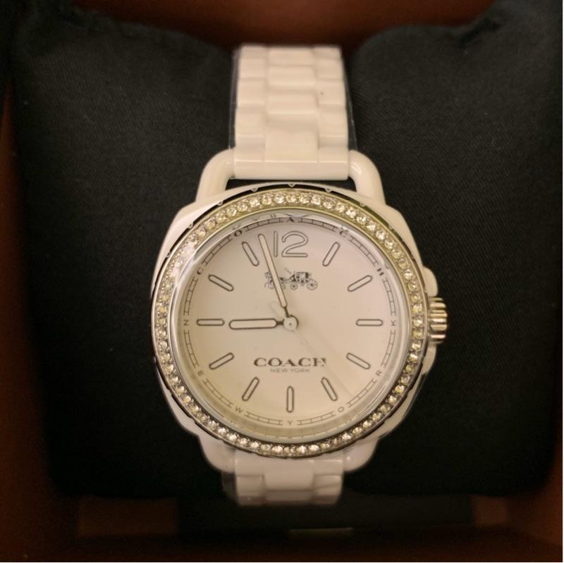 Coach 女用手錶-白色陶瓷