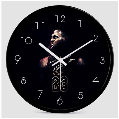 【小爱家home】NBA創意掛鐘湖人隊詹姆斯時尚藝術鐘錶客廳靜音現代簡約家居時鐘