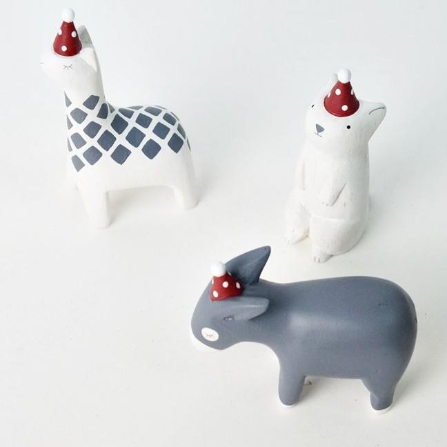 [偶拾小巷] 日本 T-Lab 手刻原木小動物聖誕帽系列