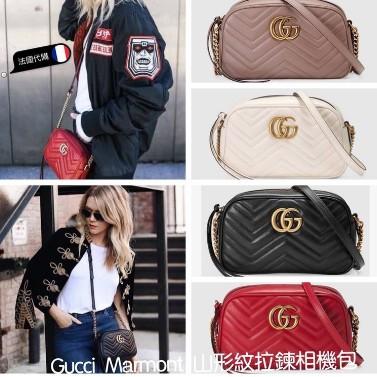 歐美經典款相機包 GG Marmont系列雙G黑色波浪紋絎縫皮革女士時尚小號肩背包447632