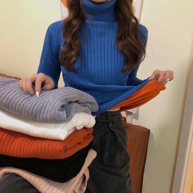 復古港風chic2020冬季新款純色高領百搭加絨加厚套頭打底針織衫女