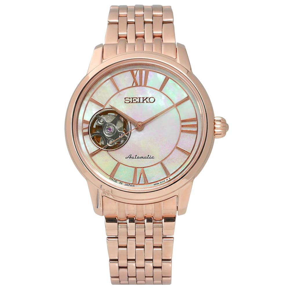 SEIKO 精工 Presage羅馬閃耀優雅機械不鏽鋼腕錶 白x鍍玫瑰金 4R38-01B0G 34mm 廠商直送