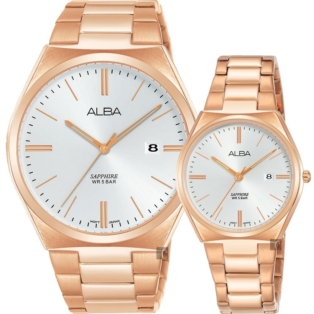 ALBA雅伯 甜蜜情人時尚對錶-銀x玫塊金/41+30mm