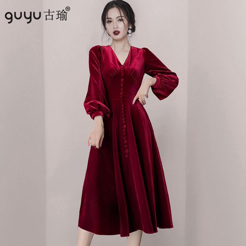 GUYU古瑜酒紅色秋冬宴會禮服絲絨洋裝優雅收腰連衣裙