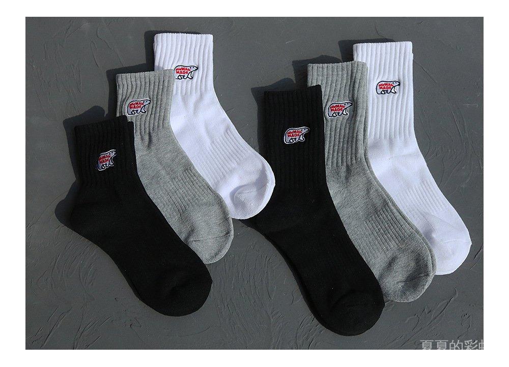 HUMAN北極熊日系棉質厚款毛巾底中筒運動襪子男女潮襪