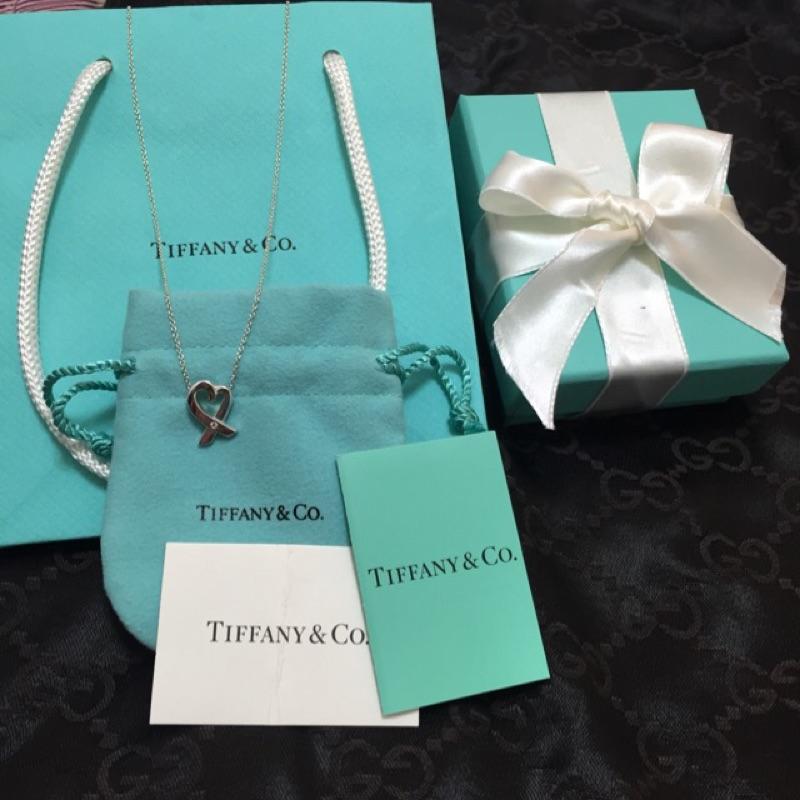 TIFFANY&Co 鑲白鑽愛心緞帶純銀項鍊