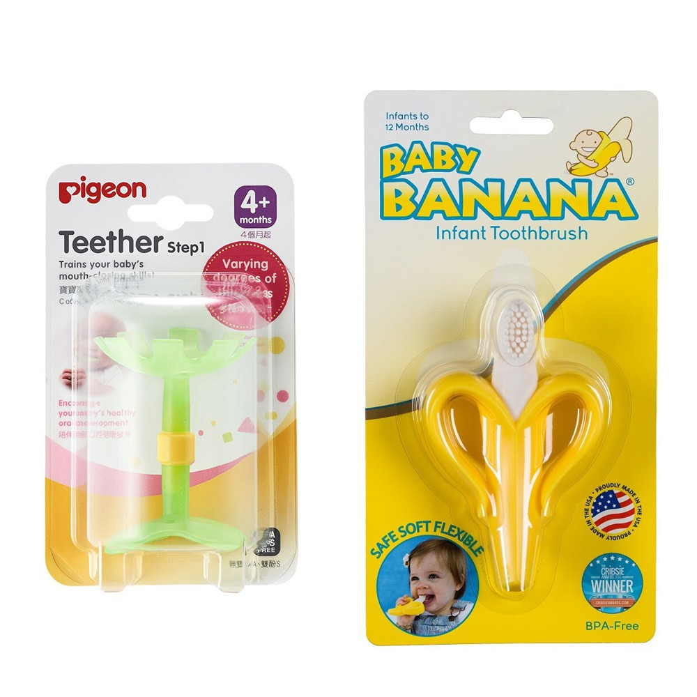Pigeon貝親 - 嘴唇訓練咬環固齒器 綠色小花 + Baby Banana - 心型香蕉牙刷