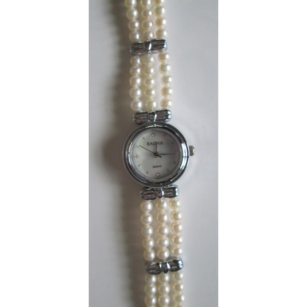 BAONA淡水珍珠水晶鑽女錶