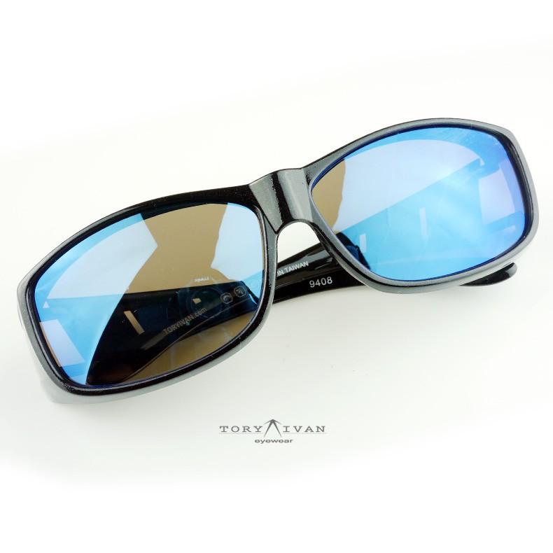 【ToryIvan】C03 嵌入式太陽眼鏡 墨鏡 包覆鏡 套鏡 幻彩藍 偏光片 反光鏡片 近視族專用 運動款
