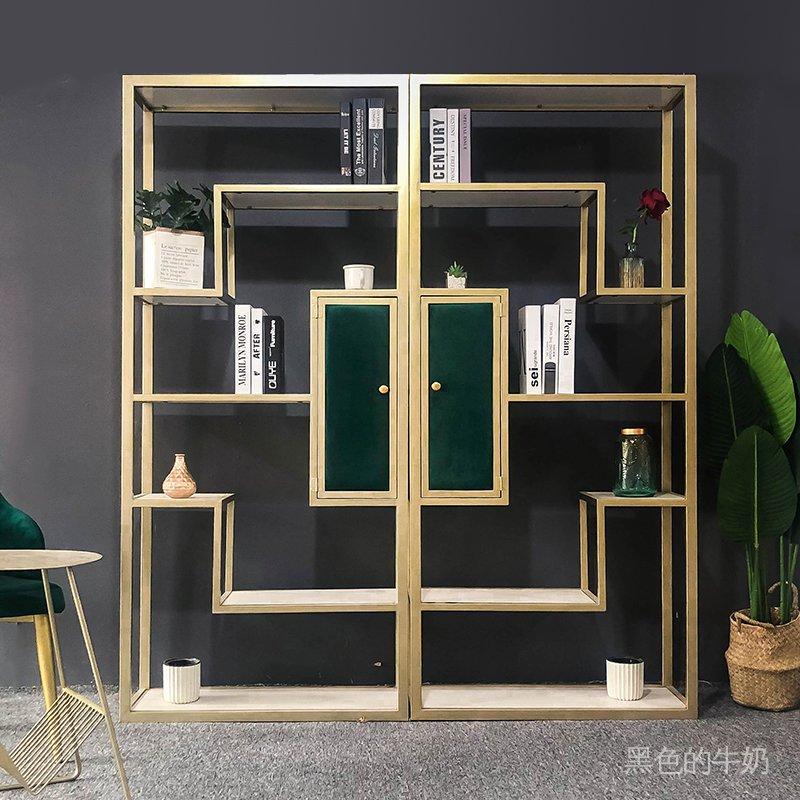 意式書櫃客廳輕奢書架金屬落地簡約現代個性展示架雙面隔斷置物架