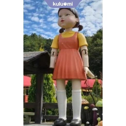木頭人裙子 123木頭人T賉裙子套裝 魷魚遊戲123木頭人女孩鬼衣服遊戲 萬聖節服裝角色扮演服裝 萬聖節面具 角色扮演