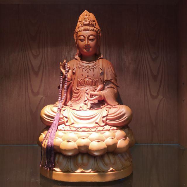 臺灣製1尺3樟木蓮座觀音 尺三盤腿觀世音菩薩 原木木雕佛像