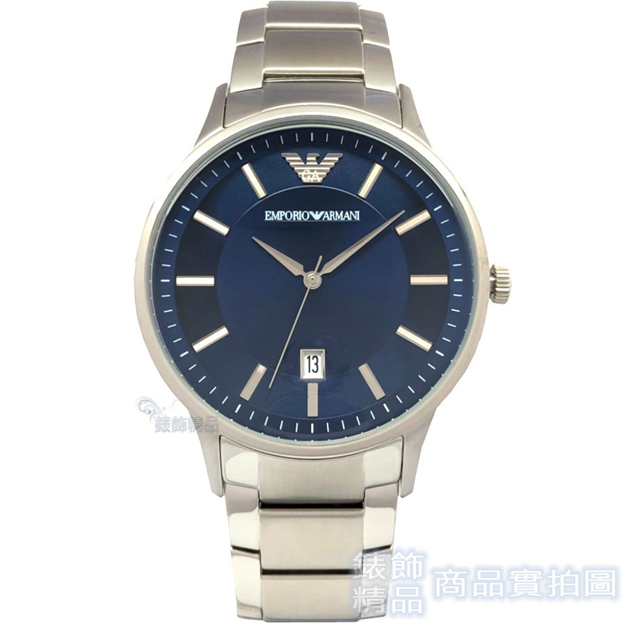EMPORIO ARMANI AR11180 亞曼尼 手錶 日期 藍面鋼帶 男錶