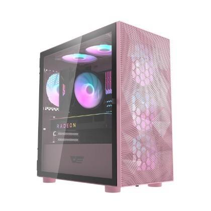 和 darkFlash DLM21 Mesh M-ATX 電腦機殼/機箱 鐵網版-粉色(不含風扇)
