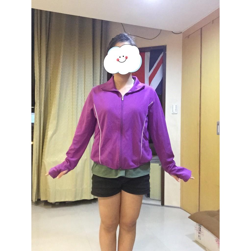 防曬抗UV 100%聚酯纖維 紫色含袖套外套