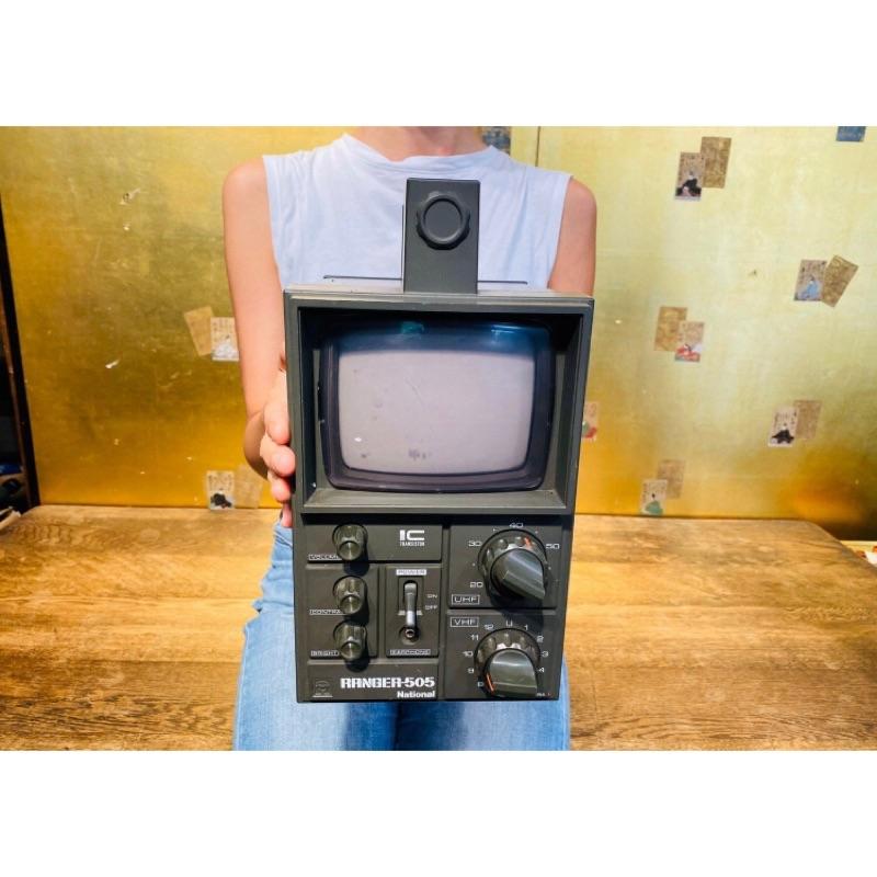 老日本 昭和末期 1976年 Panasonic ranger 505 經典手提式黑白電視機 軍綠 老件 老電器 軍規