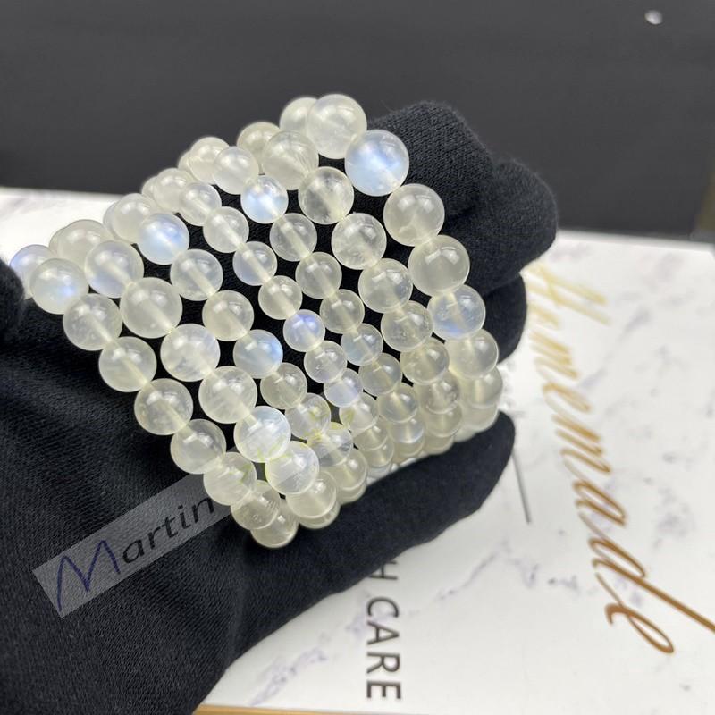 【MARTIN水晶】4A 藍月光石 藍光 藍月光  奶油體  拉長石 手鍊 手串 手珠
