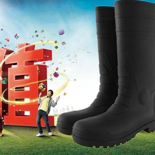 現貨下殺商品▤✙﹍鋼頭防砸靴男高筒橡膠防滑耐磨防水耐油勞保雨靴礦工安全防護雨鞋