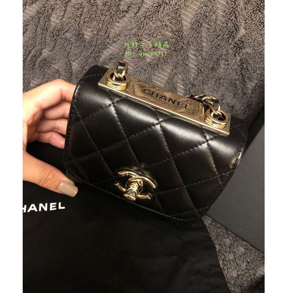 「炫梓二手」CHANEL 香奈兒  WOC 鏈帶包  Mini Trendy 黑色羊皮金扣  單肩包 斜挎包 側背包