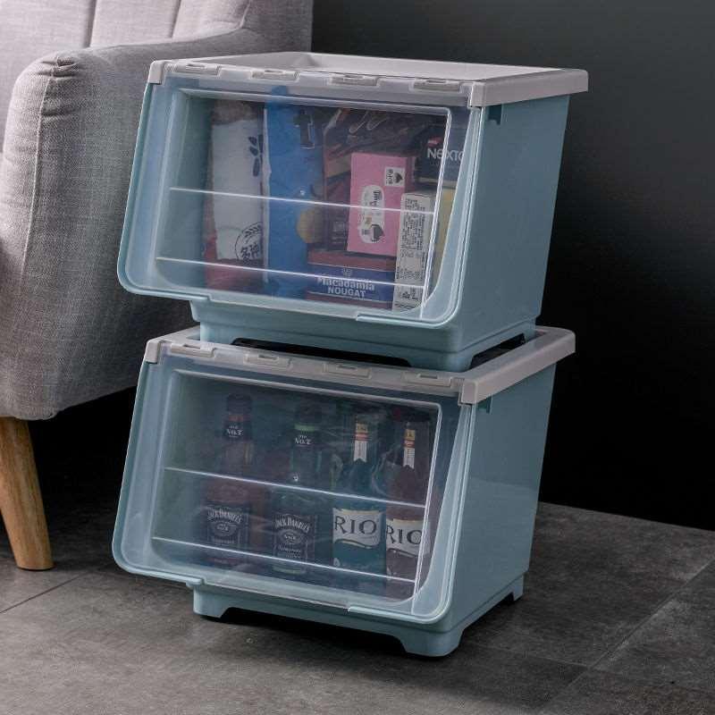 斜口前開式透明收納盒收納盒子防塵整理箱儲存箱帶蓋前開門側開式