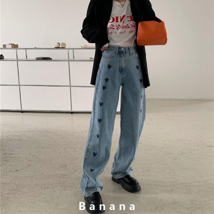 愛心滿滿!牛仔長褲 闊腿褲 寬褲 復古直筒褲 高腰顯瘦拖地長褲 女生衣著 韓國ins寬鬆牛仔褲 學生banana線上商店