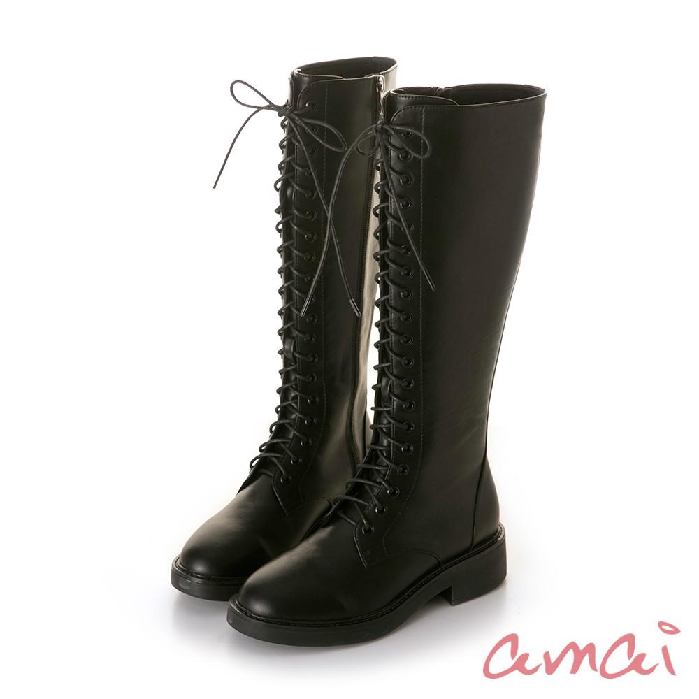 amai 《怕失去的長靴》零死角細腿及膝長筒綁帶軍靴 黑 GB511BK