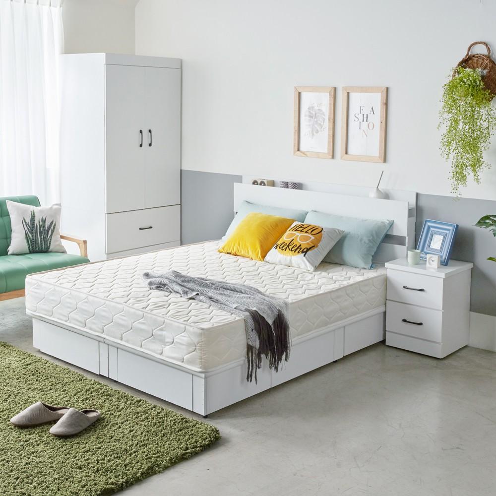 H&D 東稻家居︱伊芙琳現代風5尺雙人房間組4件式(床頭+床底+床頭櫃+衣櫃)-4色