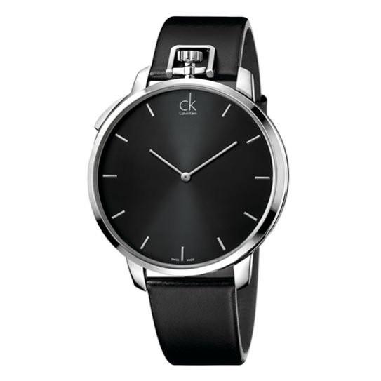 Calvin Klein-K3Z211C1時尚 酷型皮革腕錶黑/大4 8mm