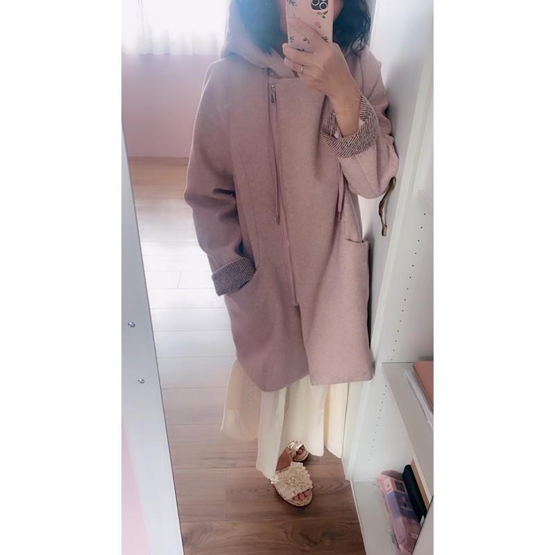 韓國秋冬煙燻粉紅灰褐條紋編織拼接連帽雙層立領西裝領口袋棉毛長版大衣外套口袋反折