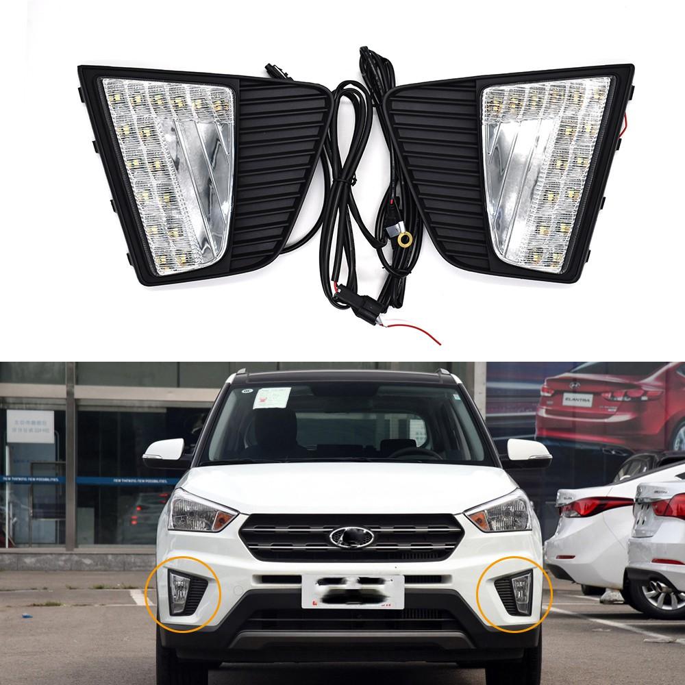 1 對汽車 Led Drl 日間行車燈 Led 日燈, 用於汽車專用現代 Ix25 2014 2015 2016 更換霧