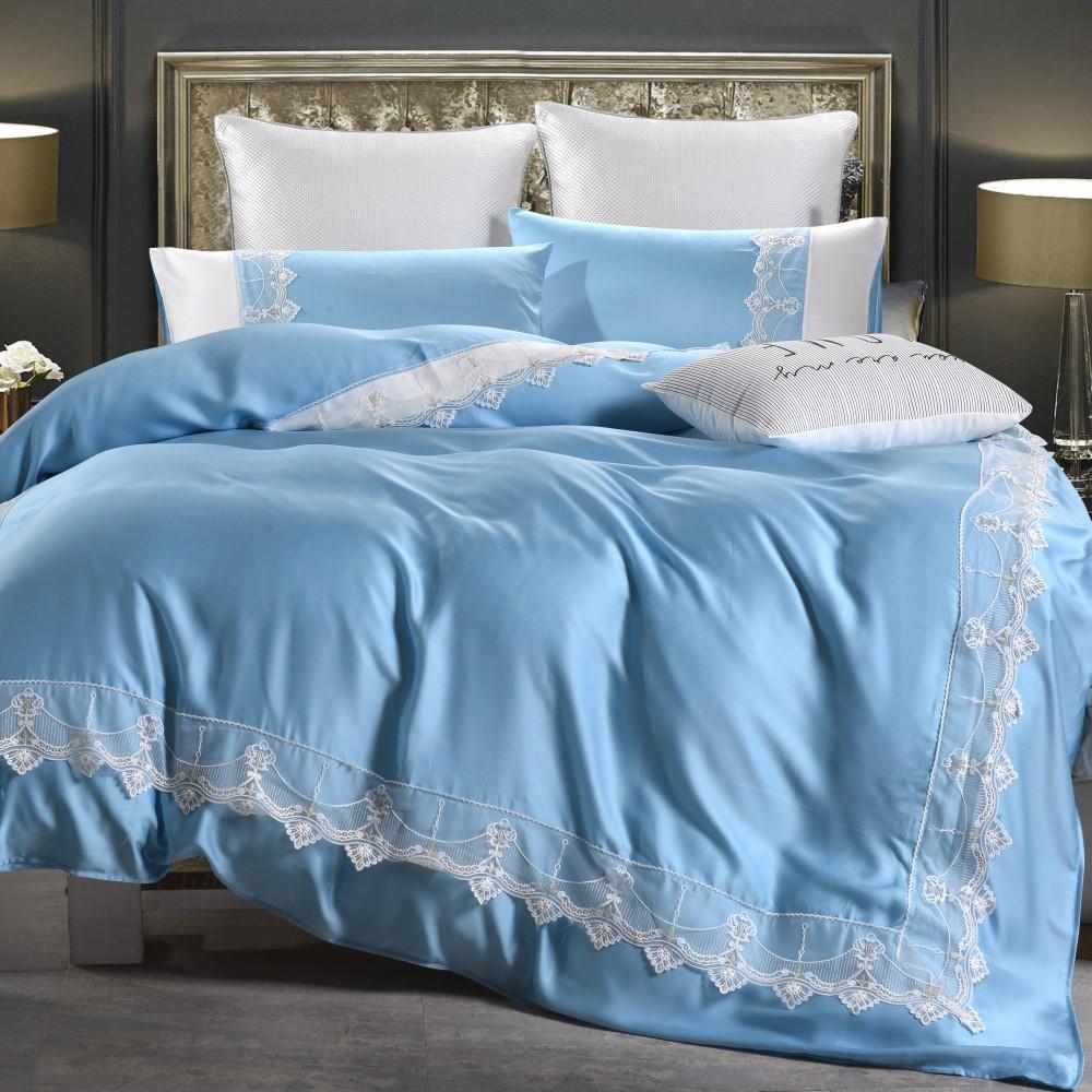 典雅法式蕾絲60支頂級天絲床包被套組 南法藍色海岸