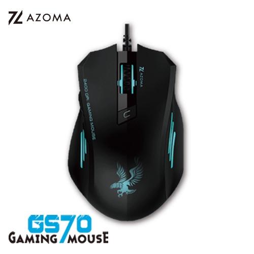 AZOMA GS70 電競光學滑鼠 6鍵 含滾輪 2400dpi USB 有線滑鼠 黑色