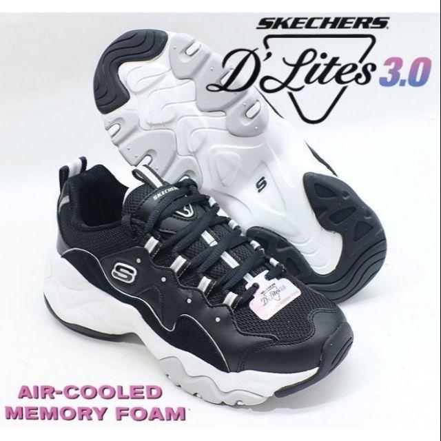SKECHERS 女款D'LITES 3.0系列復古運動休閒鞋 (12955/BKW)