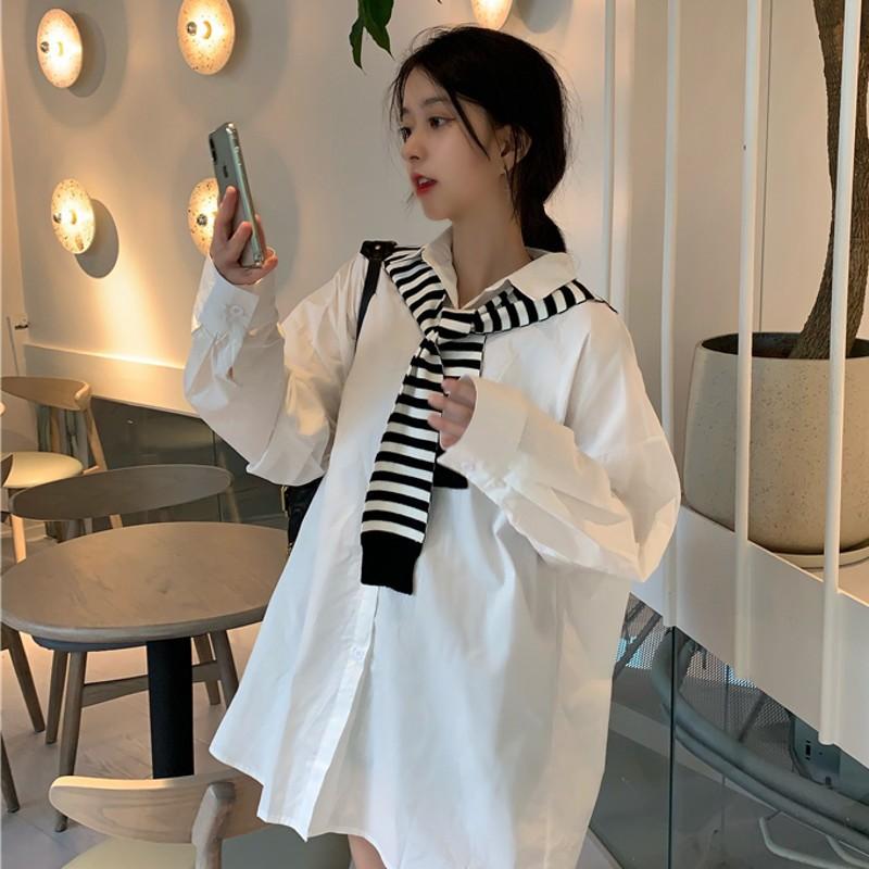 【秋季上新】秋季新款韓版bf寬松百搭中長款長袖白色襯衫女時尚披肩上衣潮