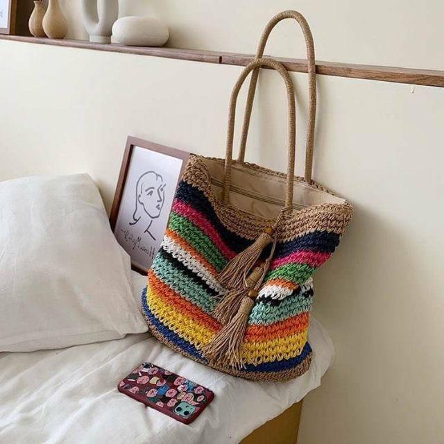 韓系大容量彩色橫條草編包手工單肩手提編織包海邊度假沙灘包