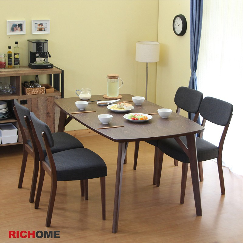 RICHOME   TA314WN + CH1225*4    艾曼達餐桌椅組(一桌四椅)  餐桌椅     餐廳