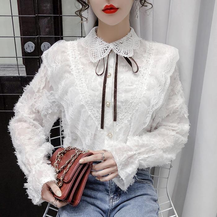 正韓女裝新款時尚蕾絲打底衫女士設計感小眾寬鬆外穿喇叭袖雪紡上衣ins潮