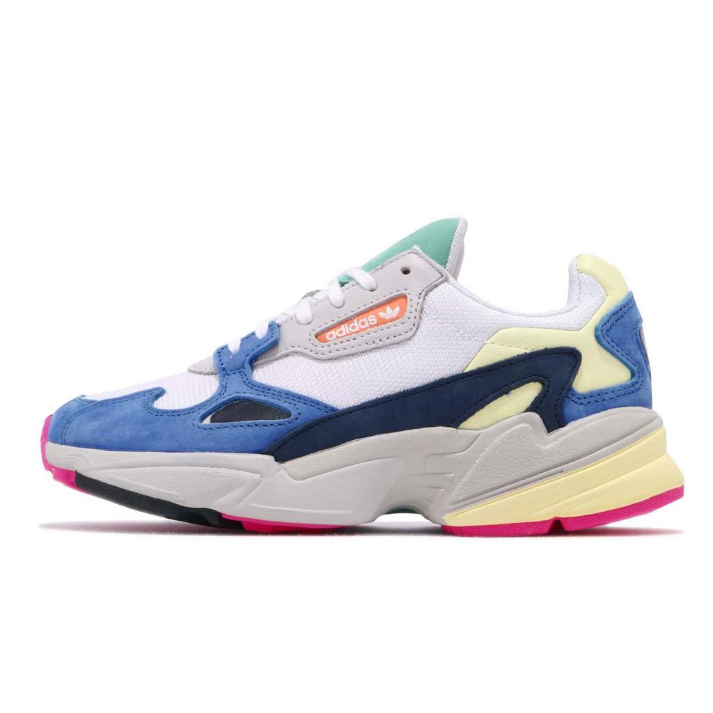 adidas 老爹鞋 Falcon W 彩色 藍 麂皮鞋面 老爺鞋 爸爸鞋 運動鞋 女鞋 BB9174【ACS】