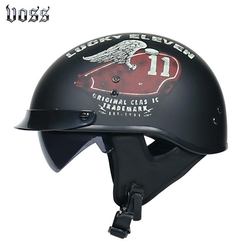 嘻哈安全帽✁VOSS哈雷電動車頭盔男女輕便式半盔夏季復古瓢盔電瓶車踏板車頭盔