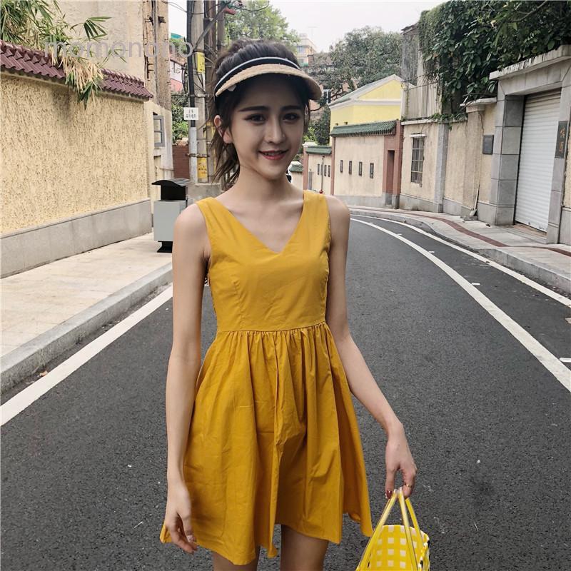 momonono低价 長版洋裝 chic 優質裙子 清倉價 吊帶洋裝 現貨 收腰顯瘦連體裙 爆品 新款連衣裙