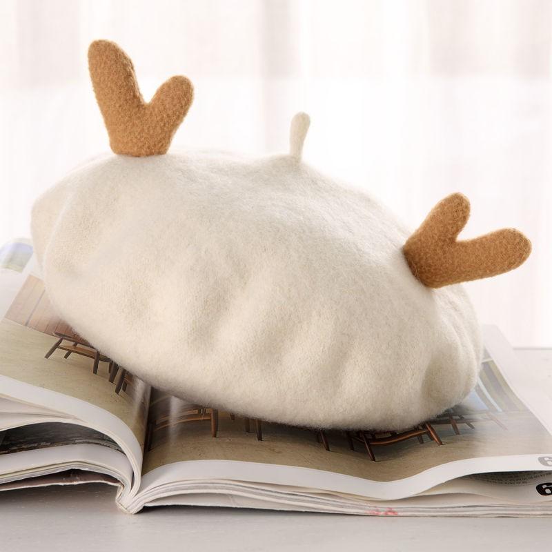 耶誕節帽子現貨速發日系森系復古貝雷帽女 春秋 純羊毛呢可愛鹿角圣誕蓓蕾帽畫家帽子