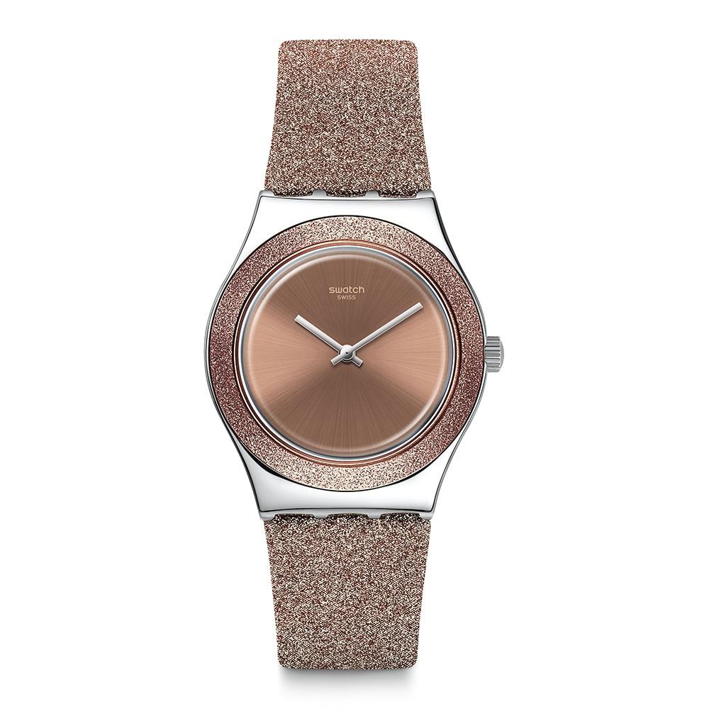 【SWATCH】Irony 金屬系列手錶 ROSE SPARKLE-33mm YLS220