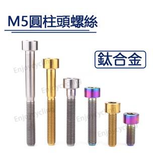 M5鈦合金螺絲 M5*10-60mm柱型頭內六角螺栓 自行車碼表架 座管束 龍頭修補螺栓 金色 炫彩  64鈦螺絲